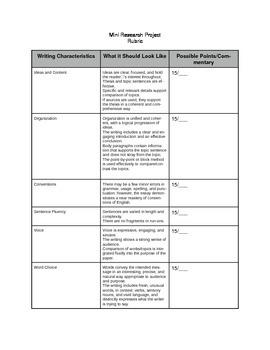 Compare/Contrast Essay Rubric