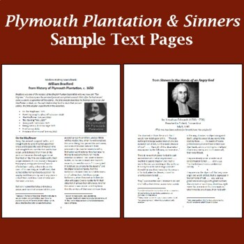 "Compare/Contrast Essays:""Plymouth Plantation"" ""Sinners ... Hands ... Angry God"""