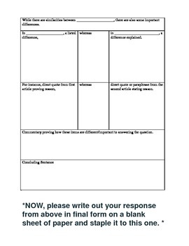 Compare/Contrast Graphic Organizer and Rubric