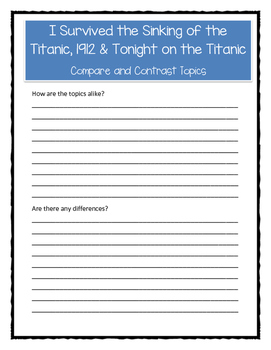 Compare/Contrast I SURVIVED: TITANIC and TONIGHT ON THE TITANIC