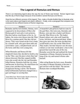Compare/Contrast: The Legend of Romulus & Remus