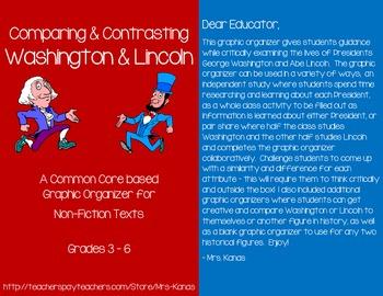 Compare/Contrast Washington & Lincoln - President's Day - Common Core