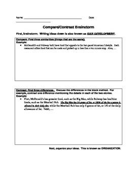 Compare/Contrast Writing: Brainstorm Organizer