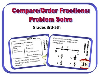 Compare/Order Fractions: Problem Solving Task Cards