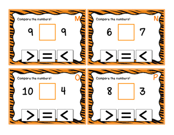 Comparing 1 Digit Numbers - Task Cards