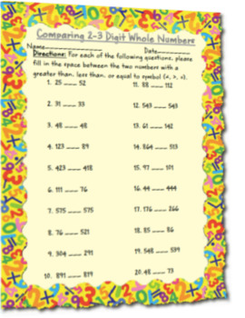 Comparing 2-3 Digit Whole Numbers Assessment