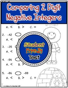 Comparing 2 Digit Negative Integers Test