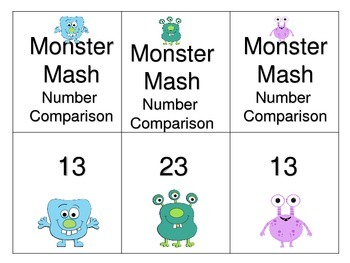 Comparing 2 Digit Numbers Board Game---Monster Mash
