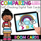 Comparing 2-Digit Numbers Digital Task Cards | Boom Cards™