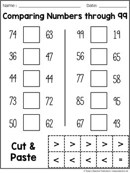 Comparing 2-Digit Numbers (First Grade Cut and Paste Practice)