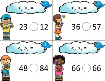 Comparing 2-Digit Numbers Math Task Cards for Greater Than, Less Than, Equal To