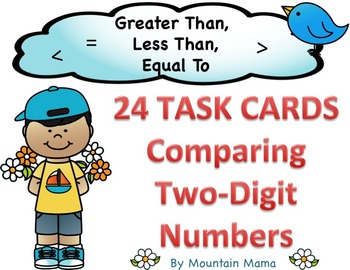 Comparing 2-Digit Numbers Math Task Cards for Greater Than