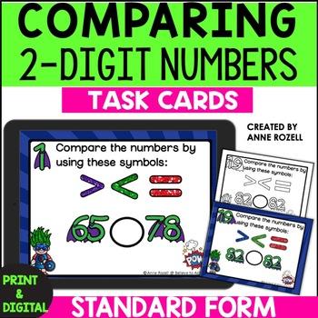 Comparing 2-Digit Numbers Task Cards: Standard Form-1.NBT.B.3