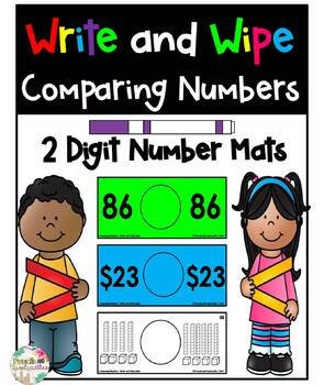 Comparing 2 Digit Numbers- Write and Wipe Cards
