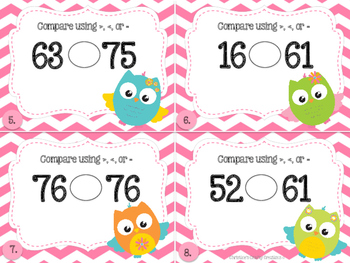 Comparing 2-digit Numbers Task Cards- Owl Theme