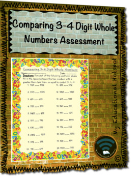 Comparing 3-4 Digit Whole Numbers Assessment