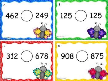 Comparing 3-Digit Number Task Cards {Freebie!}