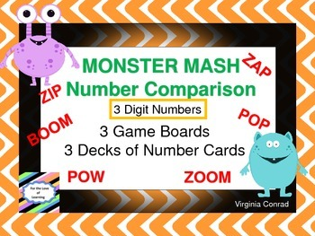 Comparing 3 Digit Numbers Board Game---Monster Mash