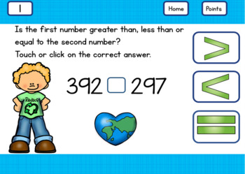 Comparing 3 Digit Numbers Greater Than, Less Than, Equal To for 2nd Grade