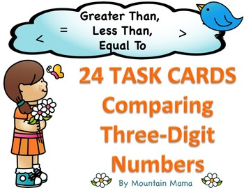 Comparing 3-Digit Numbers Math Task Cards for Greater Than