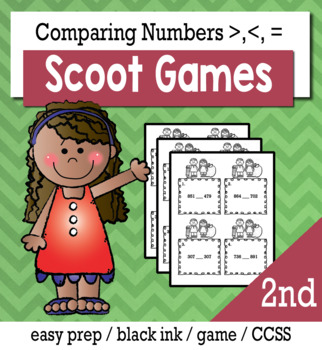 Comparing 3 Digit Numbers - Scoot Game/Task Cards