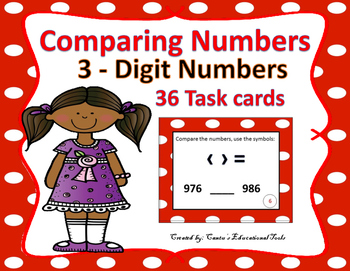 Comparing 3 Digit Numbers Task Cards