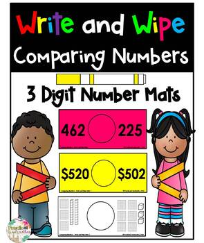 Comparing 3 Digit Numbers- Write and Wipe Cards