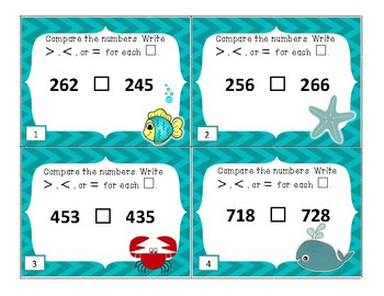 Comparing 3 and 4 Digit Numbers Task Cards