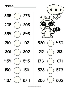 Comparing 3 digit numbers common core math worksheet