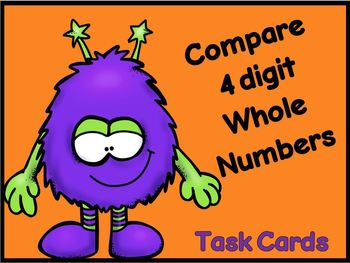 Comparing 4 Digit Whole Numbers Task Cards