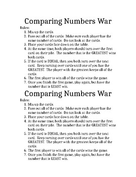 Comparing 6-digit Numbers WAR Game