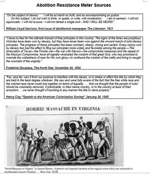 Comparing Abolitionist Movements - Resistance Meter Activity