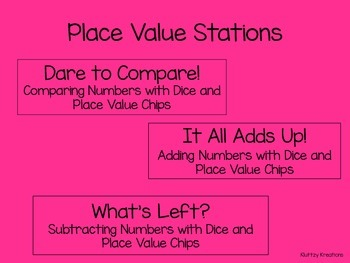 Comparing, Adding, Subtracting Whole Numbers Stations