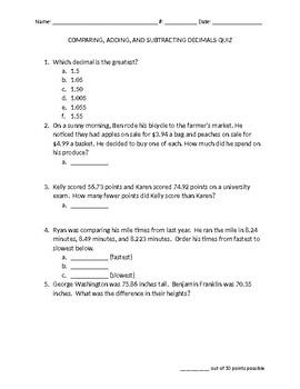 Comparing, Adding, and Subtracting Decimals Quiz