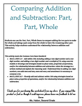 Comparing Addition and Subtraction: Part, Part, Whole