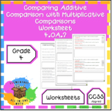 Comparing Additive Comparison with Multiplicative Comparisons - Worksheet 4.OA.2