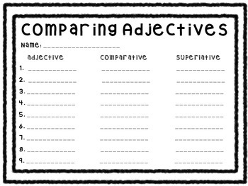 Comparing Adjectives