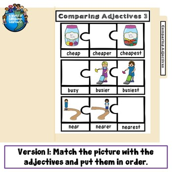 Comparing Adjectives File Folder Game 3