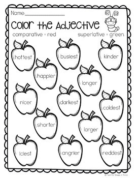 Comparing Adjectives: Printables for Comparative and Superlative Adjectives