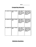 Comparing Amounts recording sheet with reflection questions