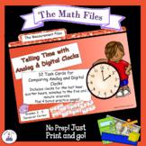 Comparing Analog to Digital Clocks Task Cards