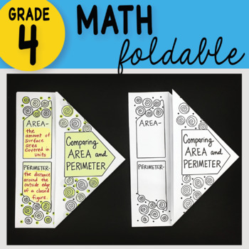 Doodle Notes - Comparing Area and Perimeter Math Interactive Notebook Foldable