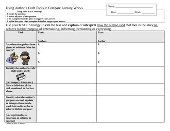 Comparing Author's Craft in Literary Work