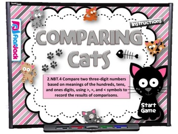 Comparing Cats Smart Board Game (CCSS.2.NBT.4)