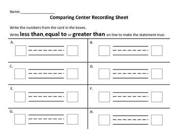Comparing Center Recording Sheets