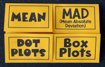 Comparing Centers (Mean, MAD, Dot & Box Plots) (Foldable)
