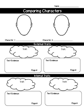 Comparing Characters Graphic Organizer (External v. Intern