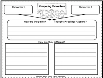 Comparing Characters, Graphic Organizers Freebie