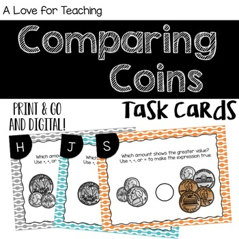 Comparing Coin Amounts Task Cards {Money}