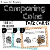 Comparing Coin Money Amounts Task Cards {Print & Go + Digital}